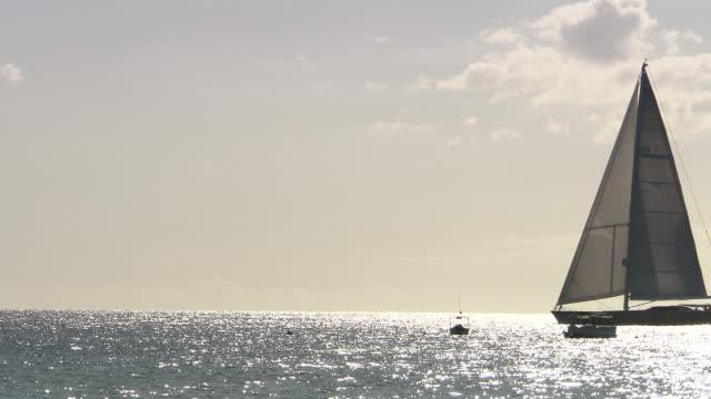 WS View of Large sail boat moving in ocean / Bridgetown, Saint Michael, Barbados