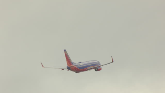 ws aerial view of large southwest plane flying in air / palm beach, florida, united states - flugzeug in der luft stock-videos und b-roll-filmmaterial