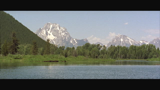 ms pan view of large valley with grand teton mountains in background - grand teton stock videos & royalty-free footage