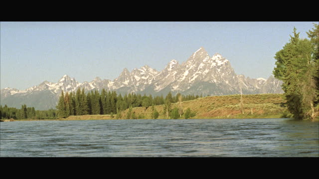 ms cu view of large valley with grand teton mountains in background - grand teton stock-videos und b-roll-filmmaterial