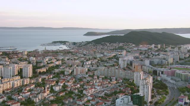 WS AERIAL ZO View of largest coastal city on eastern shores of Adriatic sea / Split, Split Dalmatia County, Croatia