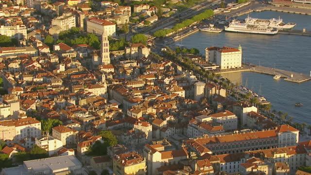 WS AERIAL DS View of largest coastal city on eastern shores of Adriatic sea / Split, Split Dalmatia County, Croatia