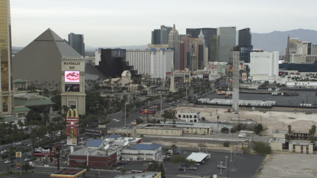ws aerial view of las vegas blvd / las vegas, nevada, united states - the strip las vegas stock videos and b-roll footage