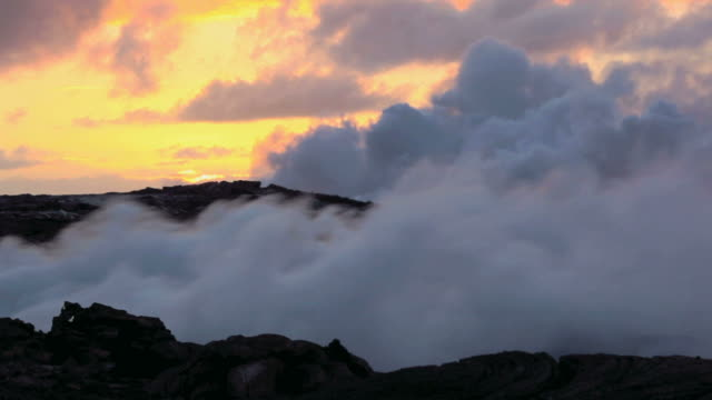 ws view of lava flow forming steam cloud at sunrise / kalapana, hawaii, usa - isole del pacifico video stock e b–roll