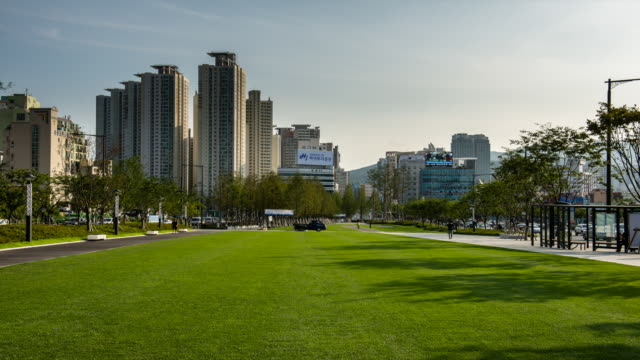 stockvideo's en b-roll-footage met view of lawn and trees in songsanghyeon town square - tuinpad
