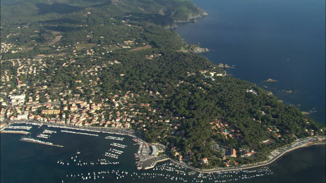 aerial, view of le brusc, provence-alpes-cote d'azur, france - cote d'azur stock videos & royalty-free footage