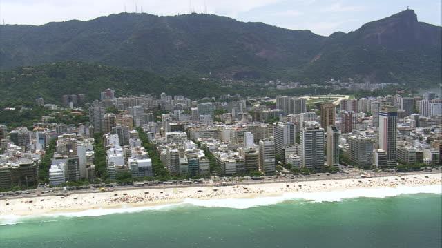 ws aerial view of leblon coastline / rio de janeiro, brazil - レブロン点の映像素材/bロール
