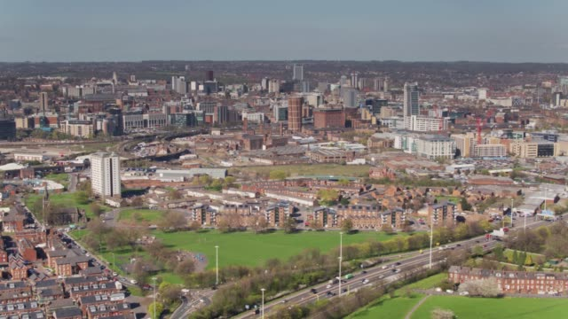 view of leeds city centre and holbeck from south - leeds stock videos & royalty-free footage
