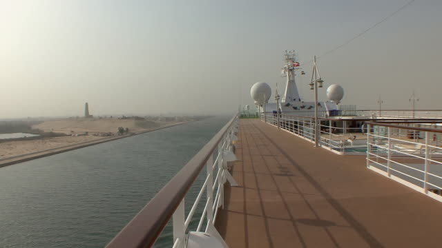 MS View of Left Bank from cruise ship deck with Defense Monument in distance, Suez Isthmus, Egypt
