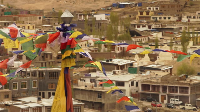 view of leh town buildings, and infrastructure - religious equipment stock-videos und b-roll-filmmaterial
