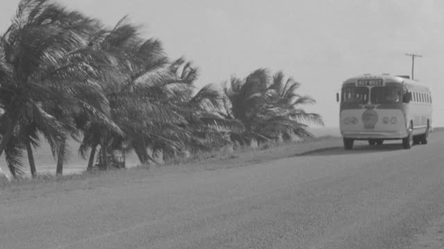 WS TS PAN View of Length of road as bus drives passing from right to left