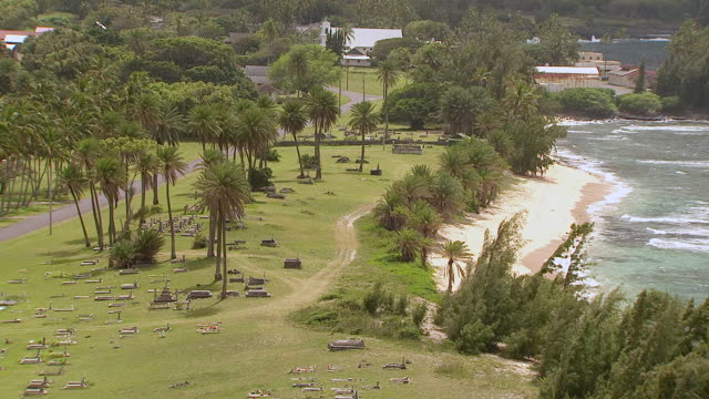MS ZO AERIAL View of leper colony's gravesite on island of Molokai / Hawaii, United States