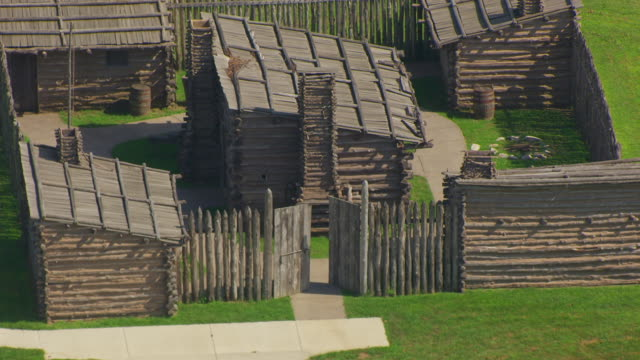 ms aerial pov view of lewis & clark state historic site / hartford, madison county, illinois, united states - william clark explorer stock videos & royalty-free footage