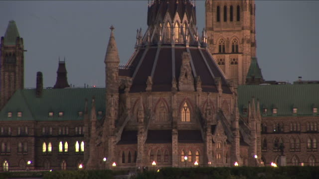 view of library at parliament building in ottawa canada - parliament building stock videos & royalty-free footage