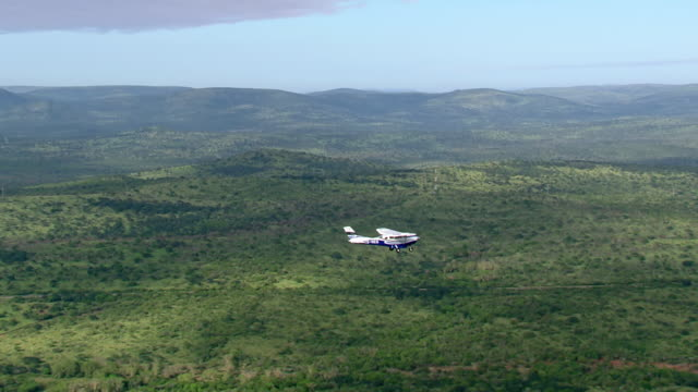 ws aerial ts view of light aircraft flying over with forest / isimangaliso wetland park, kwazulu natal, south africa - st lucia stock videos & royalty-free footage