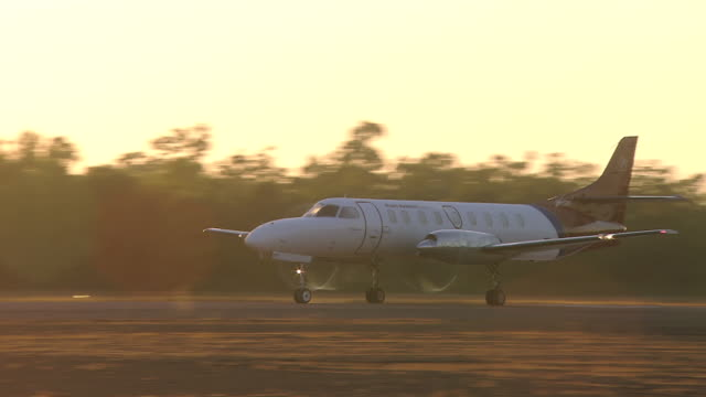 MS TS View of Light Aircraft on Runway for Takeoff at Dusk / Truscott, Western Australia, Australia