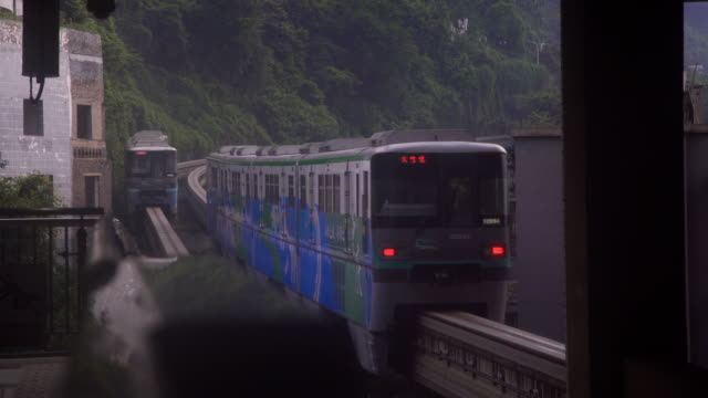 view of light rail in chongqing,china. - monorail stock videos & royalty-free footage