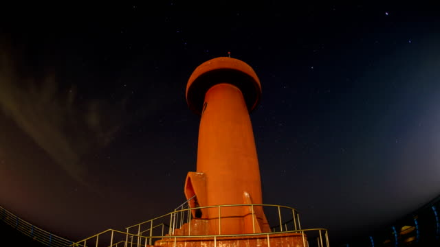 View of lighthouse of Namaehang harbor at night