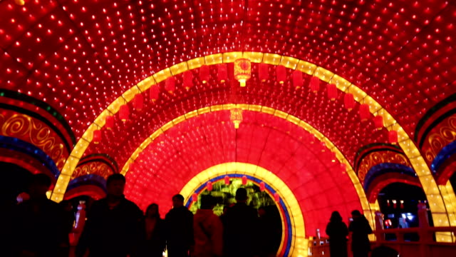 view of lighting show in tang paradise city for celebrate chinese spring festival / xi'an, shaanxi, china - chinesisches laternenfest stock-videos und b-roll-filmmaterial