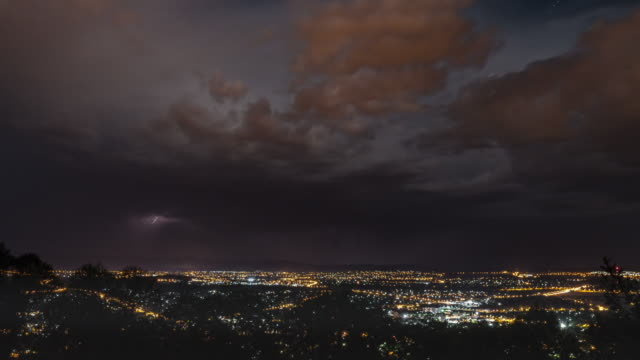 view of lightning storms over cityscape of canberra at night - lightning stock videos & royalty-free footage