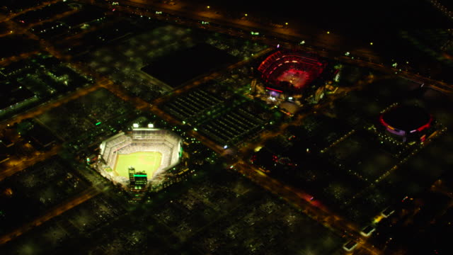 MS AERIAL View of  Lincoln financial field at night / Philadelphia