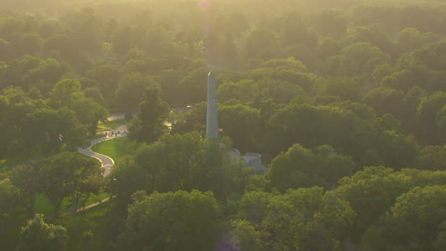 WS ZO AERIAL POV View of Lincoln Tomb and Oak Ridge Cemetery / Springfield, Illinois, United States