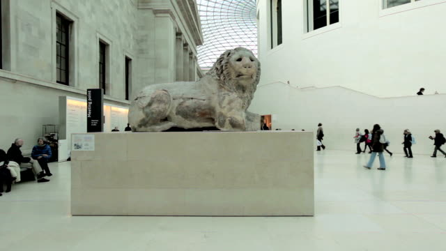 view of lion sculpture great hall british museum - british museum stock videos & royalty-free footage