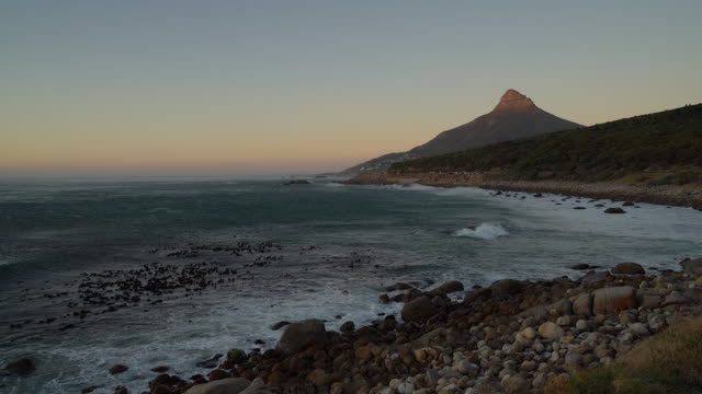 View of Lion's head and coastline, Cape Town