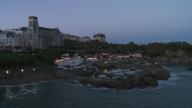 WS View of Little port with Cathedral Sunset  / Biarritz, Pyr̩n̩es Atlantique, France