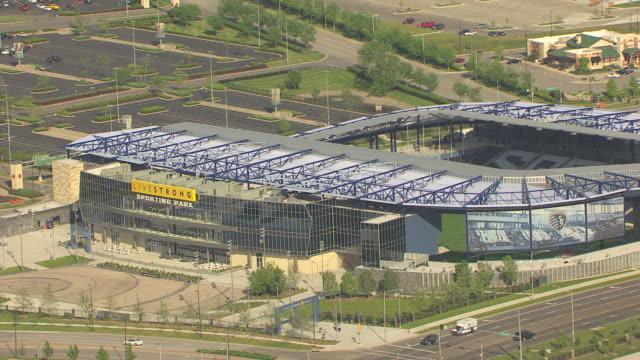 ms aerial zi view of livestrong sporting park entrance / kansas, united states - kansas city kansas stock videos & royalty-free footage