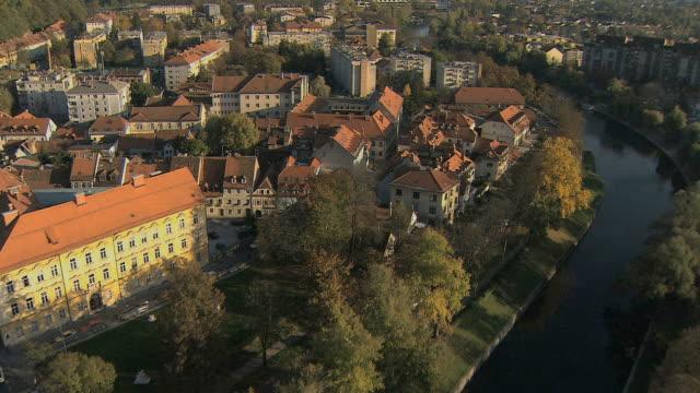 AERIAL View of Ljubljana with river Ljubljanica / Slovenia