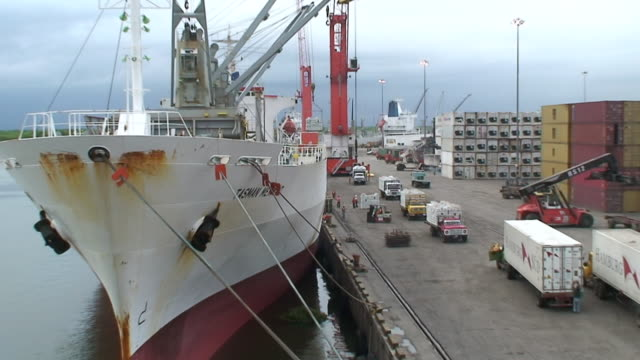 ws zo view of loading bananas in harbor of guayaquil / guayaquil, ecuador - banana stock videos & royalty-free footage