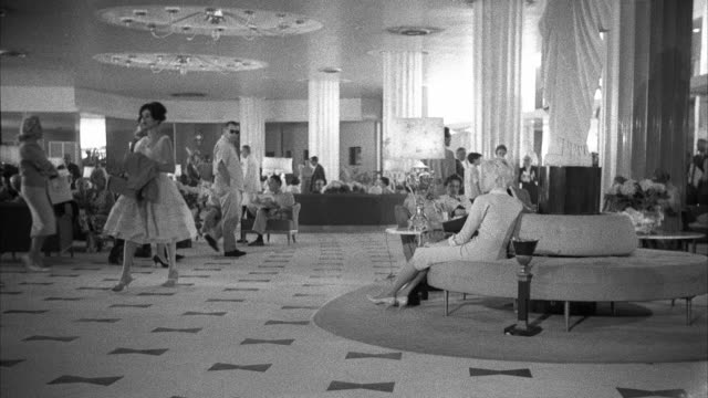 ws view of lobby of hotel fontainebleau - miami stock videos & royalty-free footage