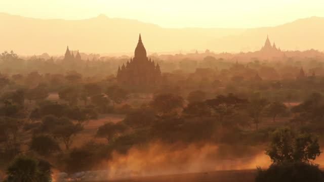 WS HA View of Local herdsmen driving cattle and goats on dry dusty tracks at sunset / Bagan, Burma