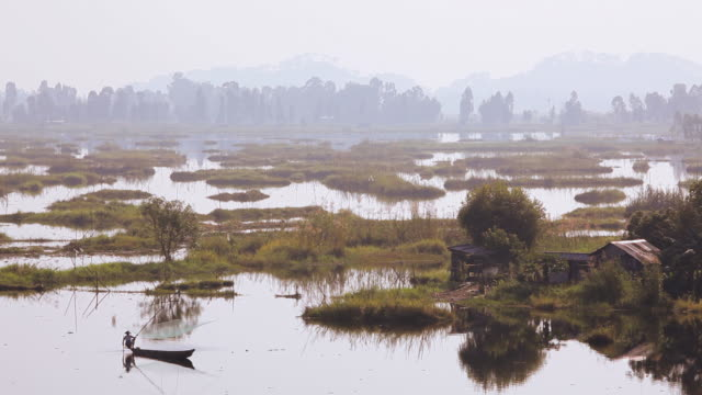 WS View of local worker Loktak Lake largest freshwater lake Impala /  Manipur, India