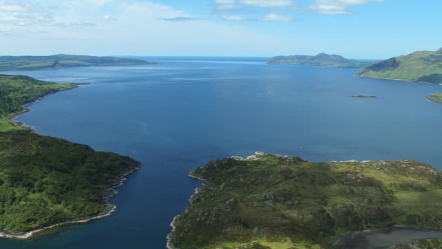 WS AERIAL View of Loch Sunart on west coast / Isle or island of Mull, Argyll and Bute, Scotland