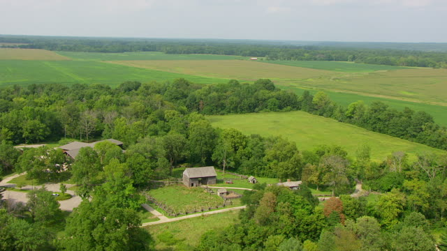 WS AERIAL POV View of log cabin at Lincoln Log Cabin State Historical Site / Coles County, Illinois, United States