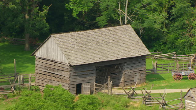 MS AERIAL POV View of log cabin at Lincoln Log Cabin State Historical Site / Coles County, Illinois, United States