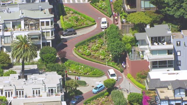 MS ZO AERIAL POV View of Lombard Street / San Francisco, California, United States