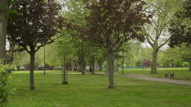 vidéos et rushes de view of london fields park in east london - hackney