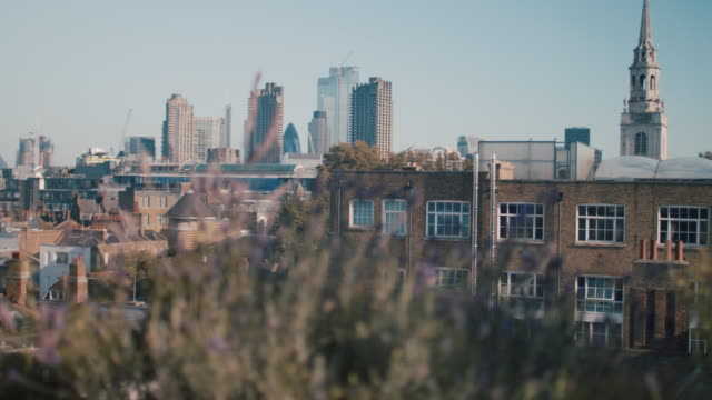 view of london skyline from roof terrace - establishing shot stock videos & royalty-free footage