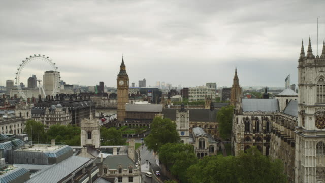 ws ha view of london with big ben and london eye / uk - overcast stock videos & royalty-free footage