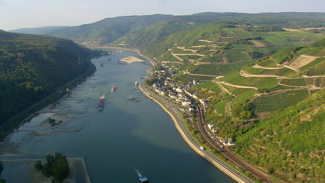 WS AERIAL ZI View of long ship moving in river at Upper Middle Rhine Valley / Germany