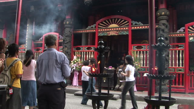view of longshan temple in taipei taiwan - temple building stock videos and b-roll footage