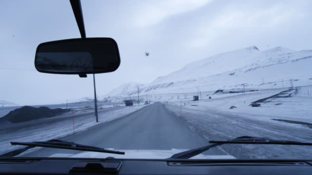 view of longyearbyen from the car window, svalbard, jan mayen. - coal mine stock videos and b-roll footage