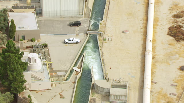 ws aerial pov view of los angeles aqueduct / los angeles, california, united states - pipeline stock videos and b-roll footage