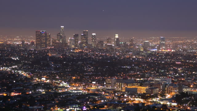T/L WS  View of Los Angeles, dusk to night / California, USA
