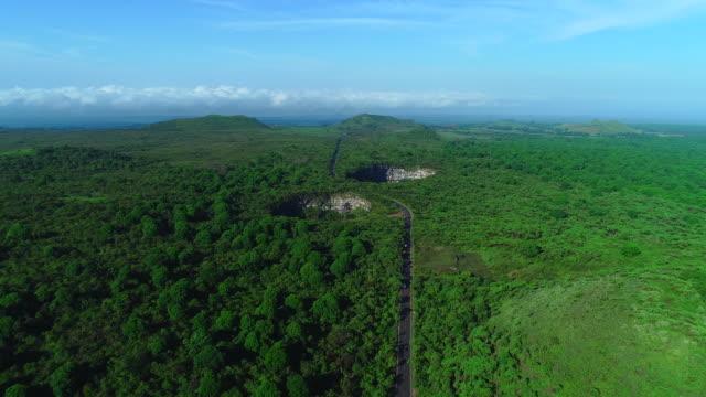 view of los gemelos pit crater in santa cruz island, galapagos - galapagos islands stock videos & royalty-free footage