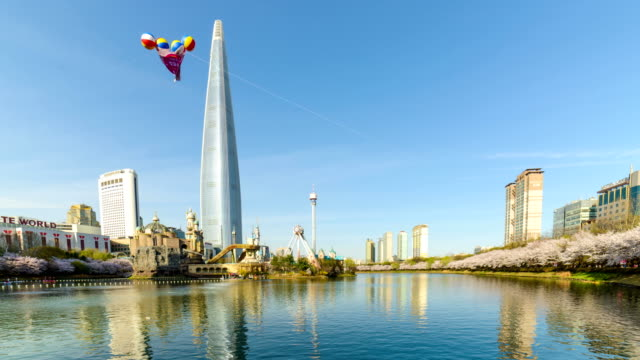 View of Lotte World Tower (The tallest building in Korea) and Seokchonhosu lake in spring