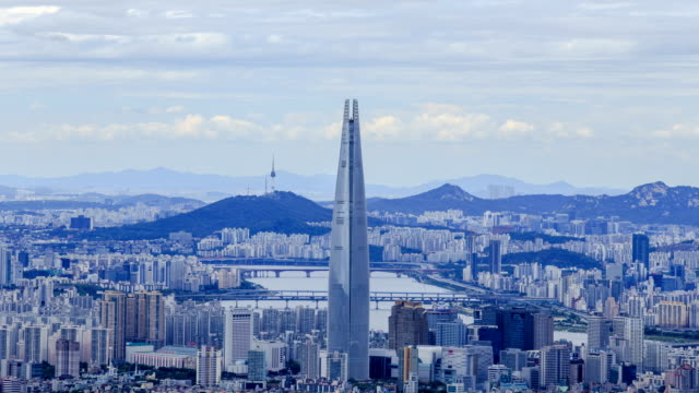 View of Lotte World Tower and Seoul cityscape (Lotte World Tower is one of the tallest building in Korea)